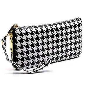 Handbags - Houndstooth Zip Around Clutch Wallet